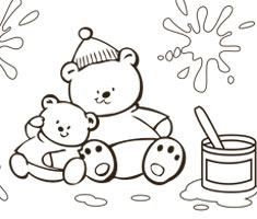 [Translate to greek:] NUK colouring page with two funny bears