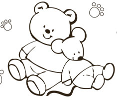 [Translate to greek:] NUK colouring page with teddy and mouse