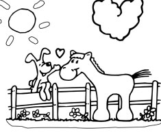 [Translate to greek:] NUK colouring page horse and dog