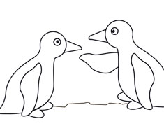 [Translate to greek:] NUK colouring page with penguin motif
