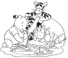 [Translate to greek:] colouring page motif with Winnie the Pooh