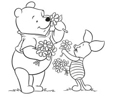 [Translate to greek:] colouring page with Winnie the Pooh