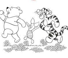 [Translate to greek:] colouring page Winnie the Pooh and friends