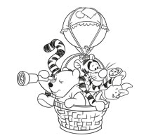 [Translate to greek:] colouring page with Winnie the Pooh and friends
